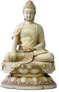 Chinese Buddha on Lotus base, Earth touching pose - Photo Museum Store Company