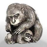 Monkey with Her Baby - Japanese Netsuke - Photo Museum Store Company