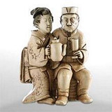 Couple Having Tea - Japanese Netsuke with Woman in Kimono and Man in Foreign Attire - Photo Museum Store Company