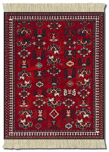 deYoung Early Turkmen - BOKHARA Miniature Rug & Mouse Pad: Red Group - Turkish/Indian - Photo Museum Store Company