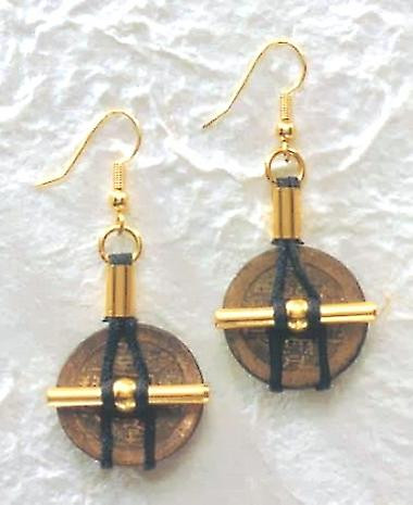 I Ching Coin with Cord Earrings - Chinese Ch'ing Dynasty - Photo Museum Store Company