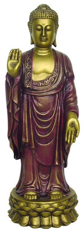 Standing Buddha in pose of Dispelling Fear and Bringing Protection - Photo Museum Company(tm)