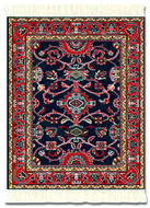 Deep Blue Bergamo Turkish Miniature Rug & Mouse Pad - International Collection MouseRug - Photo Museum Store Company