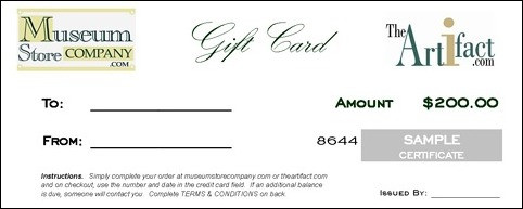 $200 GIFT CARD - CERTIFICATE (with Free Express Delivery Upgrade) - Photo Museum Store Company