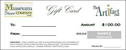 $100 GIFT CARD - CERTIFICATE (with Free Express Delivery Upgrade) - Photo Museum Store Company