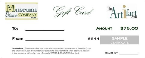 $75 GIFT CARD - CERTIFICATE (with Free Express Delivery Upgrade) - Photo Museum Store Company