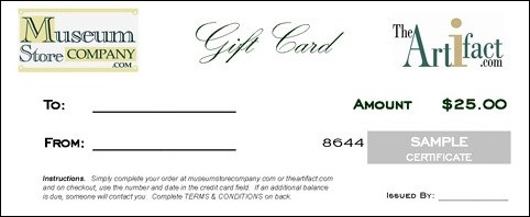 $25 GIFT CARD - CERTIFICATE (with Free Express Delivery Upgrade) - Photo Museum Store Company