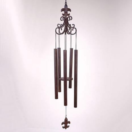 Scroll Wind Chime with Fleur de Lis - Photo Museum Store Company