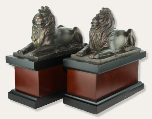 New York Public Library Lion Bookends - Bronze and Wood - Photo Museum Store Company