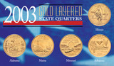 Collector's 2003 Gold-Layered State Quarters - Actual Authentic Collectable - Photo Museum Store Company