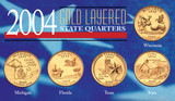 Collector's 2004 Gold-Layered State Quarters - Actual Authentic Collectable - Photo Museum Store Company