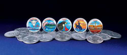 Collector's 2007 Colorized Statehood Quarters - Actual Authentic Collectable - Photo Museum Store Company