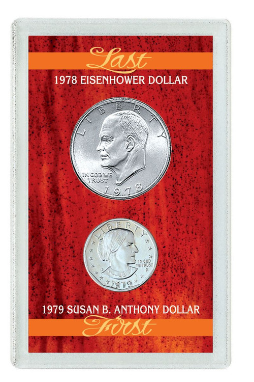 Collector's Last Eisenhower Dollar & First Susan B. Anthony Dollar - Actual Authentic Collectable - Photo Museum Store C