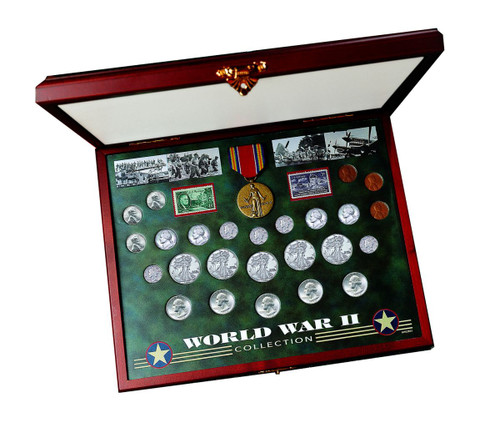 Collector's Comprehensive World War II Coin & Stamp Set - Actual Authentic Collectable - Photo Museum Store Company