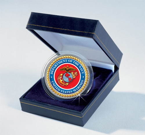 Collector's Armed Forces Commemorative Colorized JFK Half Dollar - Marines - Actual Authentic Collectable - Photo Museum