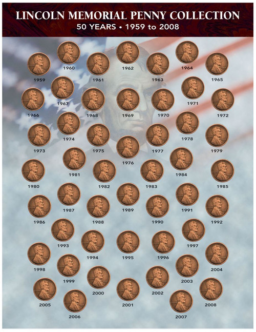Collector's Lincoln Memorial Penny Collection 1959-2008 - Actual Authentic Collectable - Photo Museum Store Company