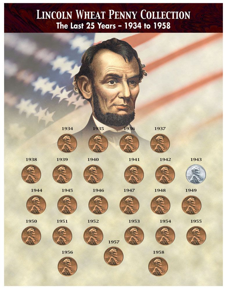 Collector's The Last 25 Years of Lincoln Wheat Penny Collection (1934-1958)  - Actual Authentic Collectibles