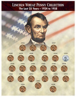 Collector's The Last 25 Years of Lincoln Wheat Penny Collection (1934-1958) - Actual Authentic Collectable - Photo Museu
