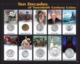 Collector's 10 Decades 20th Century Coins - Actual Authentic Collectable - Photo Museum Store Company