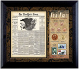 Collector's New York Times Civil War Coin & Stamp Collection Framed - Actual Authentic Collectable - Photo Museum Store