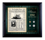 Collector's New York Times Titanic 1912 U.S. Mint Coin Collection Framed - 4 Coins - Actual Authentic Collectable - Phot