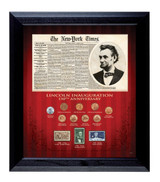 Collector's New York Times Lincoln Inauguration 150th Anniversary Coin and Stamp Collection Framed - Actual Authentic Co