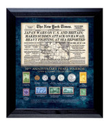 Collector's New York Times Pearl Harbor 70th Anniversary Coin and Stamp Collection Framed - Actual Authentic Collectable