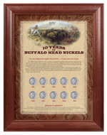 Collector's 10 Years of Buffalo Nickels - Wood Frame - Actual Authentic Collectable - Photo Museum Store Company