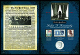 Collector's The New York Times JFK Coin & Stamp Collection - Actual Authentic Collectable - Photo Museum Store Company