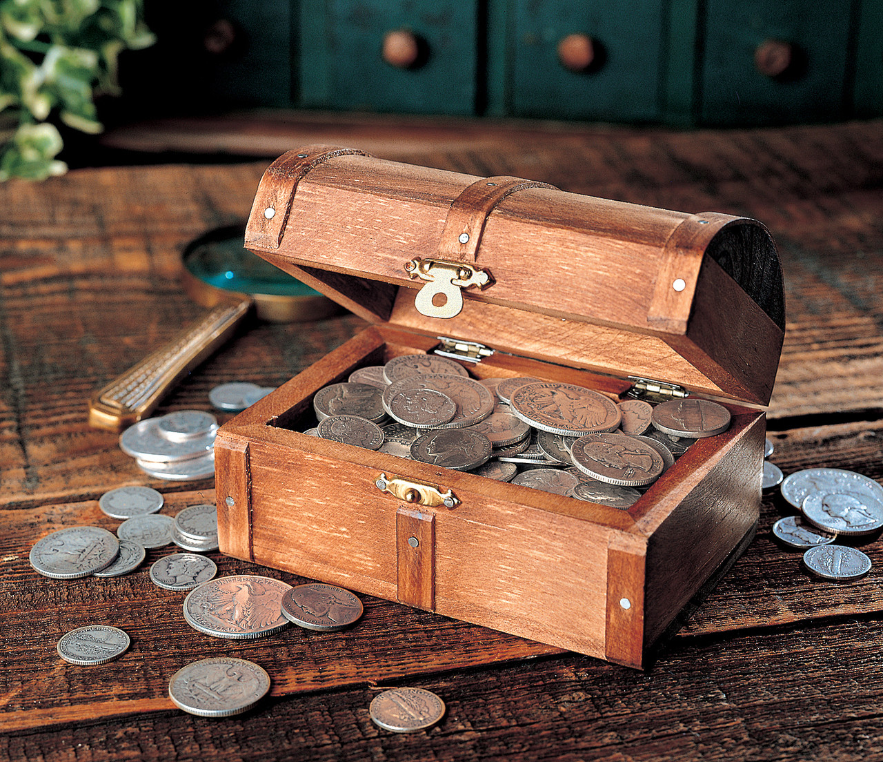 Collector's Historic Wooden Treasure Chest of Rare Old Silver Coins -  Actual Authentic Collectibles
