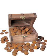 Collector's Treasure Chest of 1 Lb of Lincoln Wheat-Ear Pennies - Actual Authentic Collectable - Photo Museum Store Comp