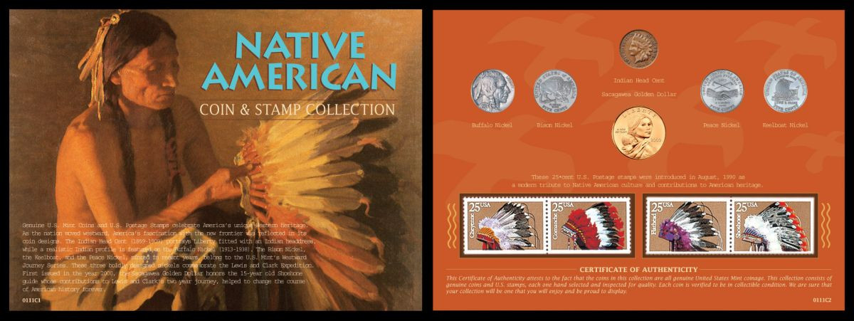 Collectors Native American West Coin Stamp Collection