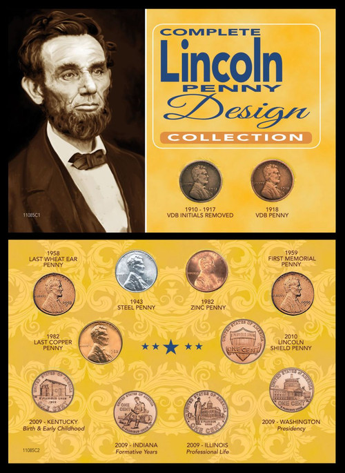 Collector's Complete Lincoln Penny Design Collection - Actual Authentic Collectable - Photo Museum Store Company