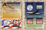 Collector's America Takes Flight Coin & Stamp Collection - Actual Authentic Collectable - Photo Museum Store Company