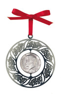 Collector's JFK Half Dollar Wreath Christmas Ornament - Actual Authentic Collectable - Photo Museum Store Company