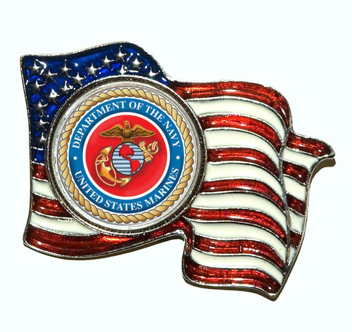 Collector's Armed Forces Colorized Quarter Flag Pin - Marines - Actual Authentic Collectable - Photo Museum Store Compan