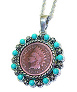 Collector's Indian Head Penny Pendant with Real Turquoise Beads - Actual Authentic Collectable - Photo Museum Store Comp