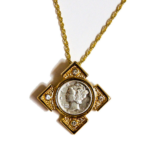 Collector's Mercury Dime Goldtone Art Deco Pendant - Actual Authentic Collectable - Photo Museum Store Company