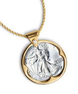 Collector's Silver Walking Liberty Half Dollar Goldtone Pendant with Crystal Bail 24 Chain - Actual Authentic Collectabl