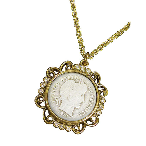 Collector's Silver Barber Dime Goldtone Pendant with Crystals 24 Chain - Actual Authentic Collectable - Photo Museum Sto