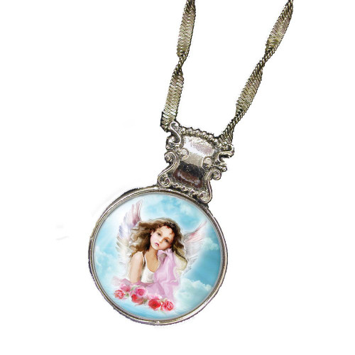 Collector's Colorized Angel JFK Half Dollar Silvertone Pendant 24'' Chain - Actual Authentic Collectable - Photo Museum