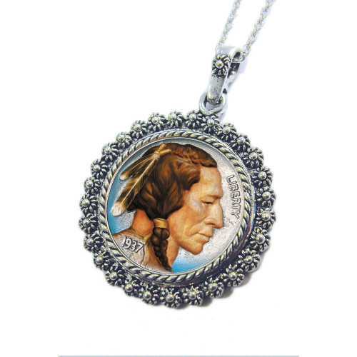 Collector's Colorized Buffalo Nickel Silvertone Blossom Pendant 24 Chain - Actual Authentic Collectable - Photo Museum S