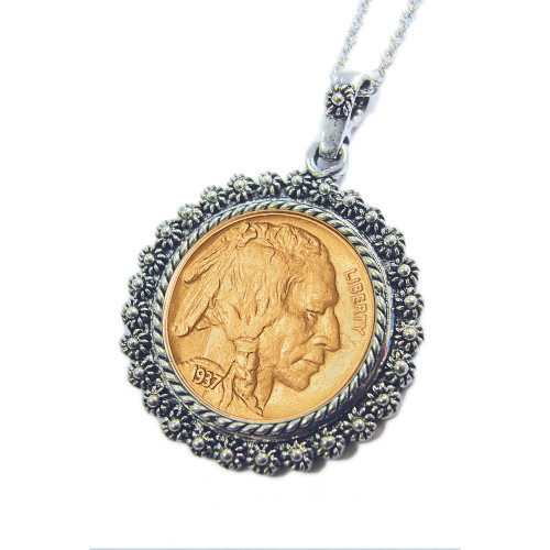 Collector's Gold-Layered Buffalo Nickel Silvertone Blossom Pendant 24 Chain - Actual Authentic Collectable - Photo Museu