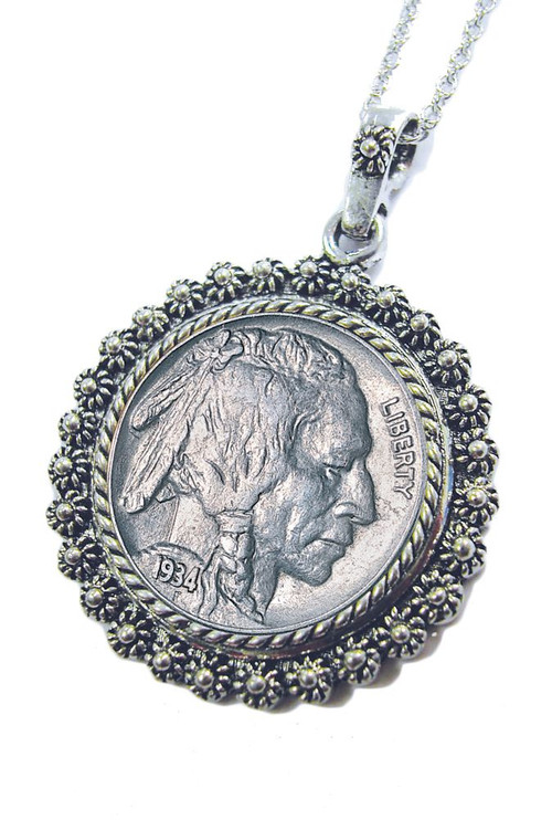 Collector's Buffalo Nickel Silvertone Blossom Pendant 24 Chain - Actual Authentic Collectable - Photo Museum Store Compa