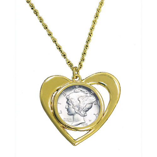 Collector's Mercury Dime Goldtone Heart Pendant - Actual Authentic Collectable - Photo Museum Store Company