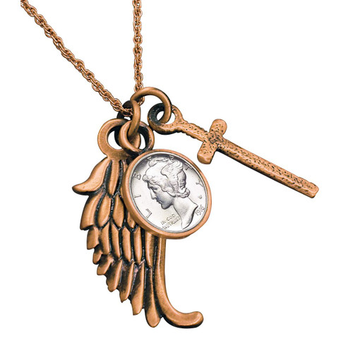 Collector's Mercury Dime Cross and Wing Coppertone Pendant - Actual Authentic Collectable - Photo Museum Store Company