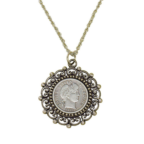 Collector's Silver Barber Dime Silvertone Beaded Pendant - Actual Authentic Collectable - Photo Museum Store Company