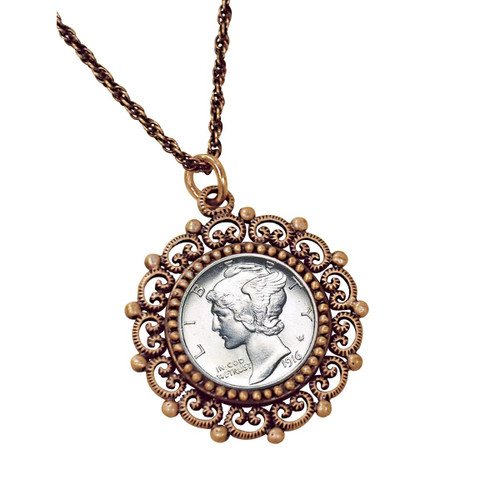 Collector's Silver Mercury Dime Coppertone Beaded Pendant - Actual Authentic Collectable - Photo Museum Store Company