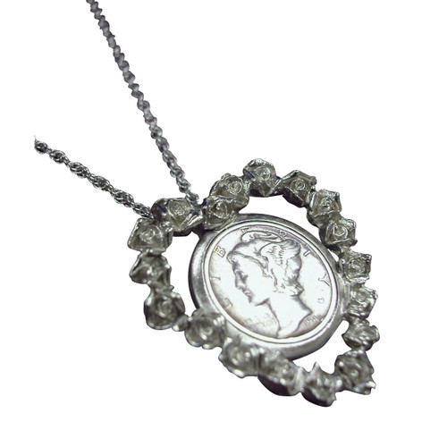 Collector's Silver Mercury Dime Rose Heart Pendant - Actual Authentic Collectable - Photo Museum Store Company