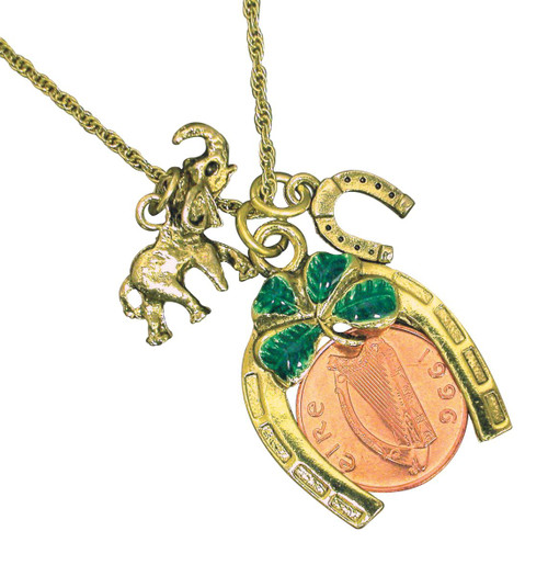 Collector's Irish Penny Coin Lotto Scratcher Charm Pendant Coin Jewelry - Actual Authentic Collectable - Photo Museum St